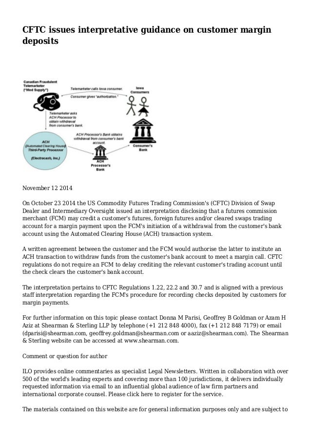 Cftc Issues Interpretative Guidance On Customer Margin Deposits