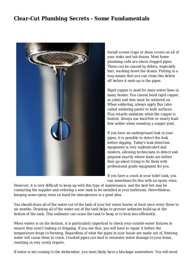 Clear-Cut Plumbing Secrets - Some Fundamentals