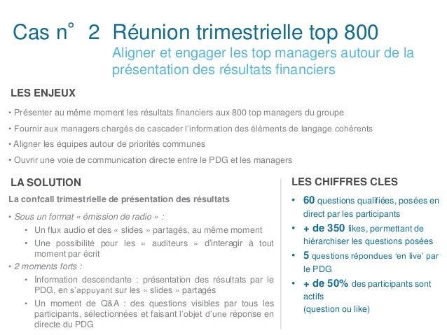 Réunion trimestrielle top 800 Aligner et engager les top managers autour de la présentation des résultats financiers Cas n...