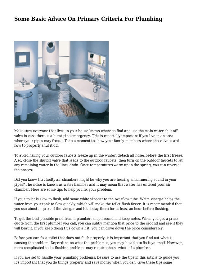 Some Basic Advice On Primary Criteria For Plumbing