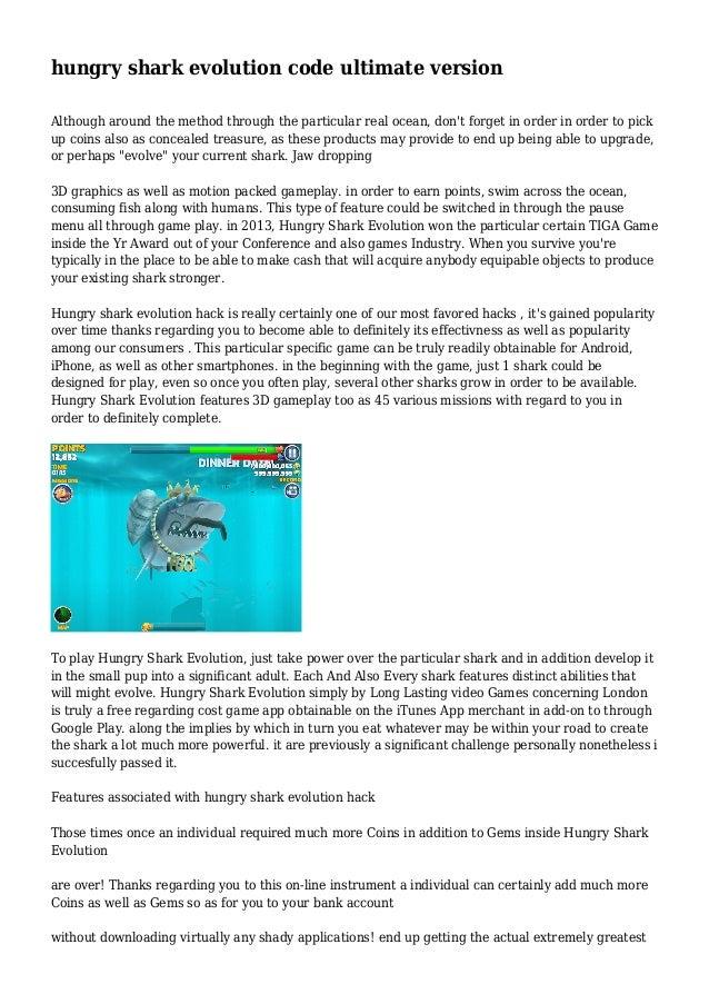 hungry shark evolution code ultimate version
