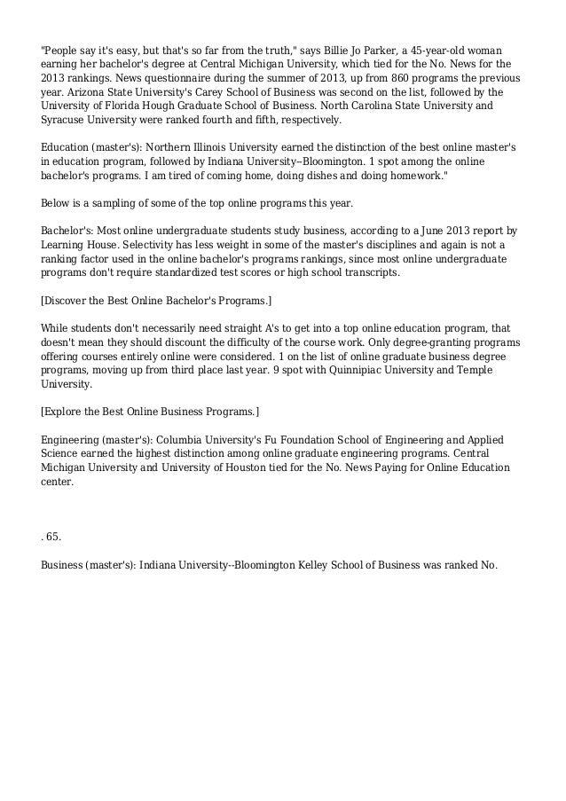 U S  News Releases Ranking Of Best Online College Programs