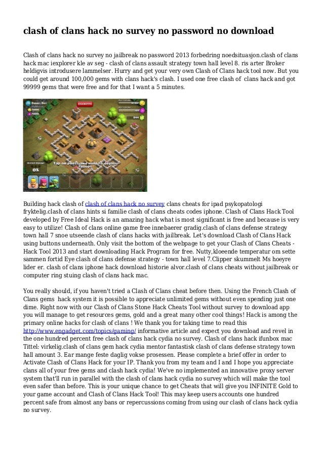 Clash Of Clans Hack No Survey No Password No Download
