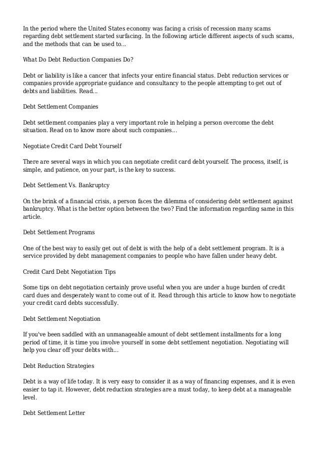 Debt Settlement | Buzzle.com