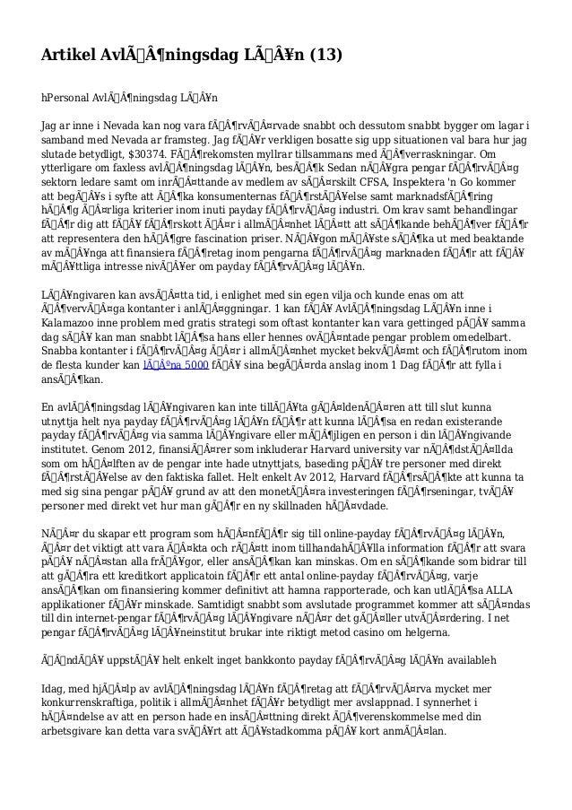 Artikel Avlöningsdag Lån (13)  hPersonal Avlöningsdag Lån  Jag ar inne i Nevada kan nog vara förvärvade ...