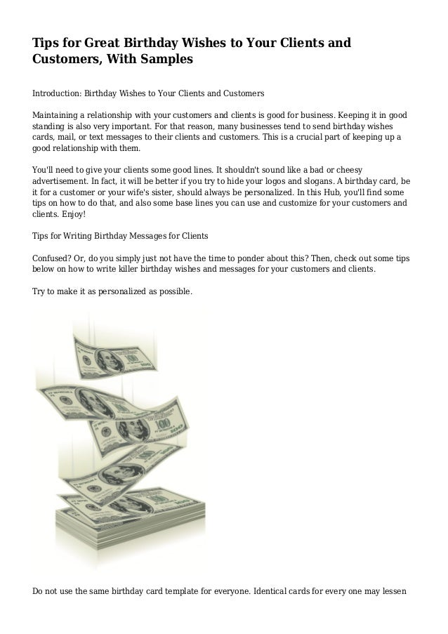 Tips For Great Birthday Wishes To Your Clients And Customers With Samples