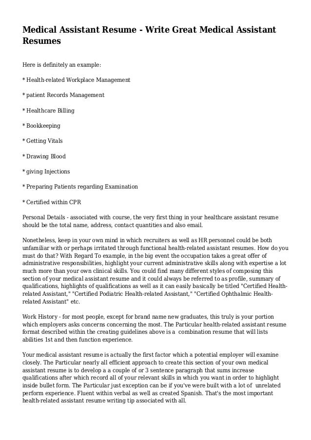 medical assistant resume write great medical assistant resumes here is definitely an example