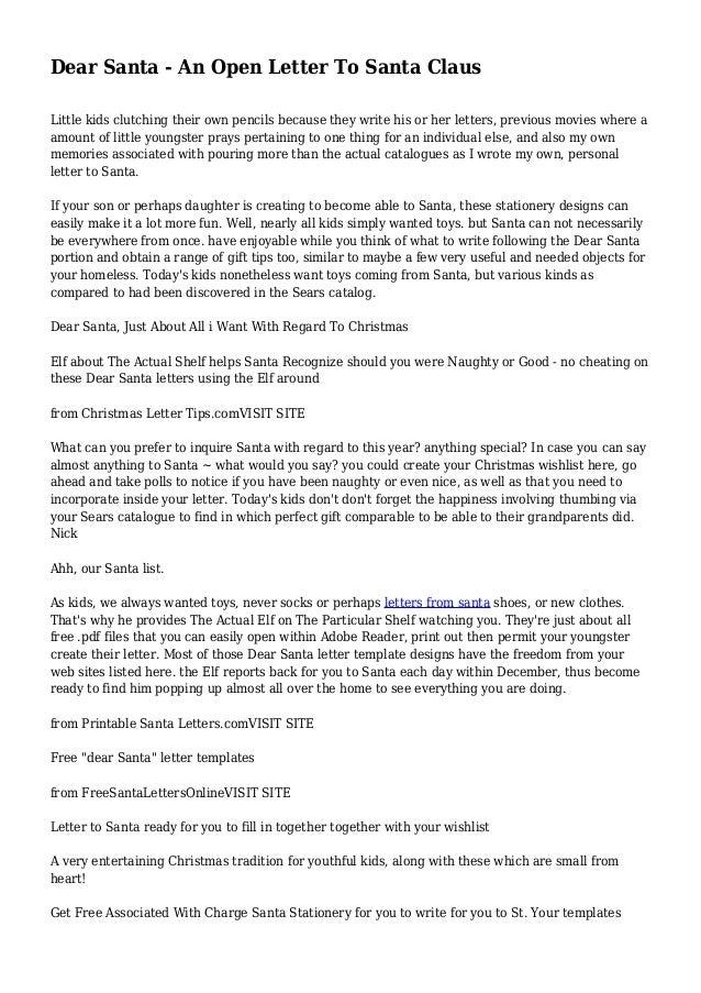Dear Santa An Open Letter To Santa Claus