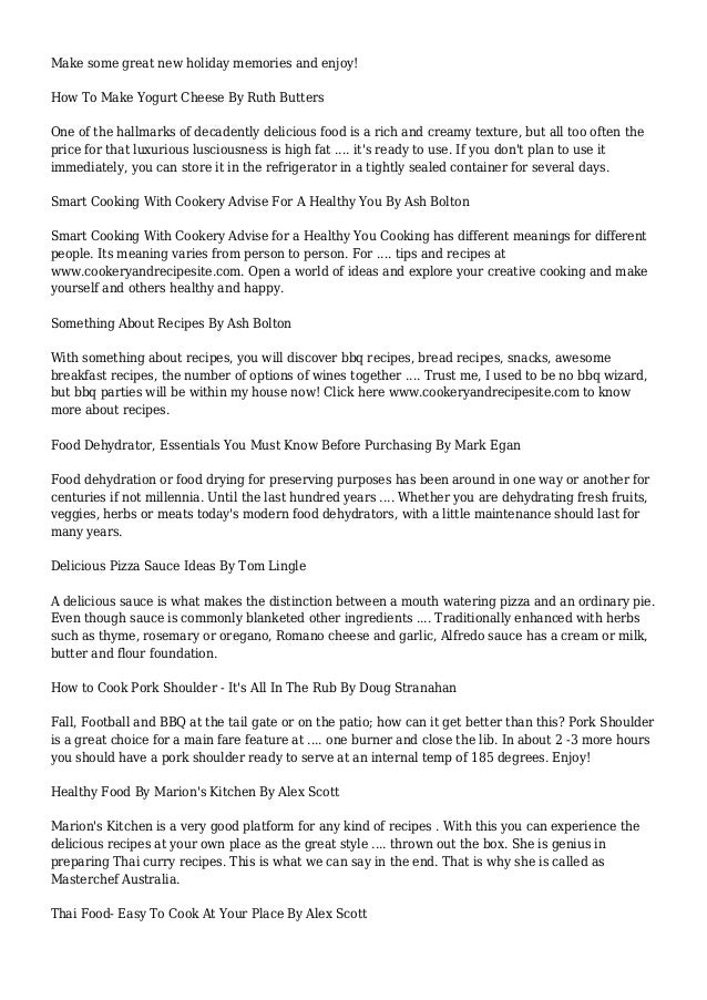 Cooking Tips & Recipes Articles     Page 6