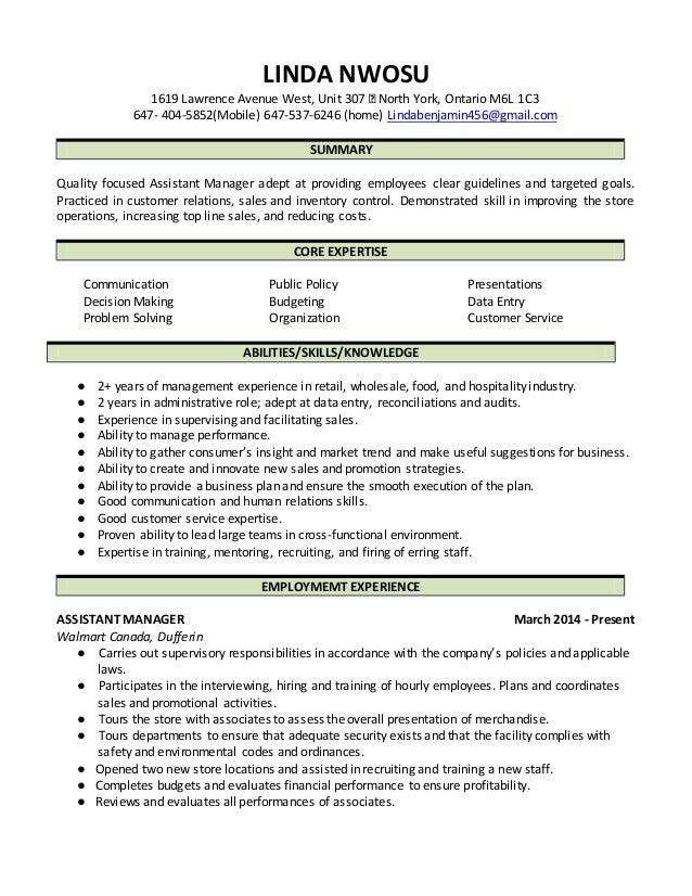 Linda Nwosu ASSISTANT MANAGER resume (2016)
