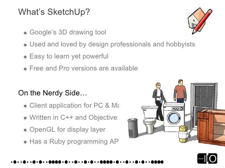 What's SketchUp?    Google's 3D drawing tool   Used and loved by design professionals and hobbyists   Easy to learn yet po...