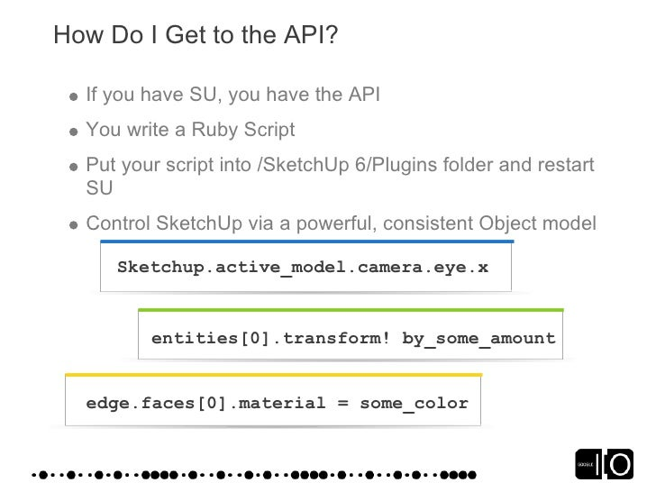 How Do I Get to the API?    If you have SU, you have the API   You write a Ruby Script   Put your script into /SketchUp 6/...
