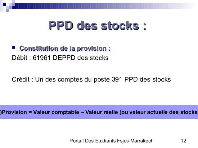 Portail Des Etudiants Fsjes Marrakech 12PPD des stocks :PPD des stocks : Constitution de la provision :Constitution de la...