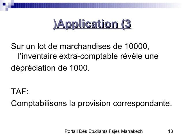 Portail Des Etudiants Fsjes Marrakech 13Application (3Application (3((Sur un lot de marchandises de 10000,l'inventaire ext...