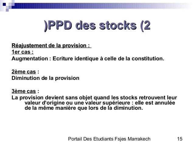 Portail Des Etudiants Fsjes Marrakech 15PPD des stocks (2PPD des stocks (2((Réajustement de la provision :Réajustement de ...