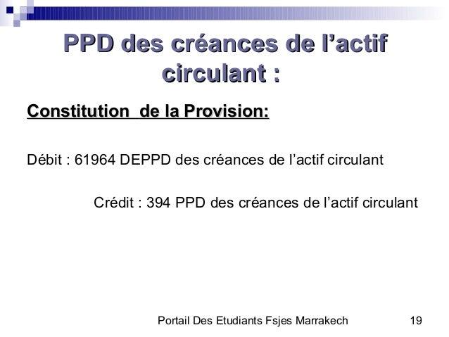 Portail Des Etudiants Fsjes Marrakech 19PPD des créances de l'actifPPD des créances de l'actifcirculant :circulant :Consti...