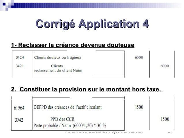 Portail Des Etudiants Fsjes Marrakech 21Corrigé Application 4Corrigé Application 411-- Reclasser la créance devenue douteu...