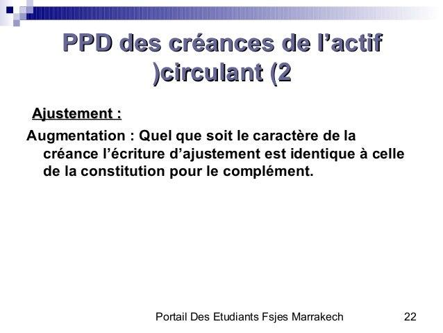 Portail Des Etudiants Fsjes Marrakech 22PPD des créances de l'actifPPD des créances de l'actifcirculant (2circulant (2((Aj...