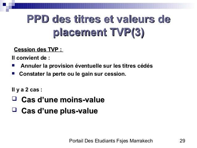 Portail Des Etudiants Fsjes Marrakech 29PPD des titres et valeurs dePPD des titres et valeurs deplacement TVP(3(placement ...