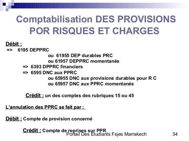 Portail Des Etudiants Fsjes Marrakech 34Comptabilisation DES PROVISIONSPOR RISQUES ET CHARGESDébit :Débit :=> 6195 DEPPRCo...