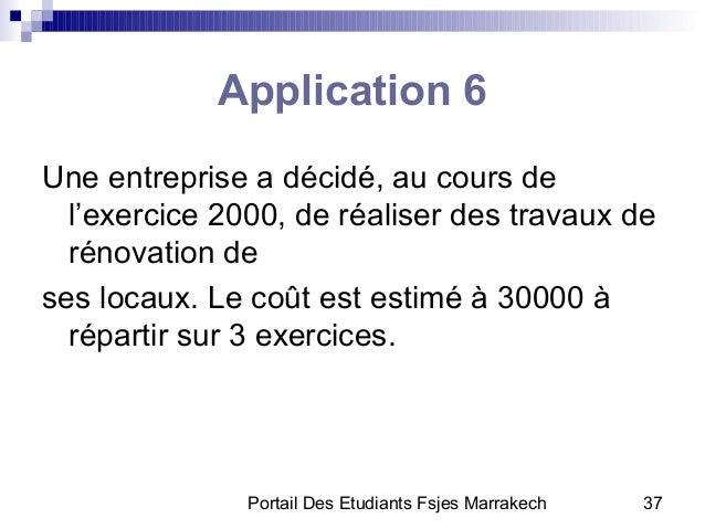 Portail Des Etudiants Fsjes Marrakech 37Application 6Une entreprise a décidé, au cours del'exercice 2000, de réaliser des ...
