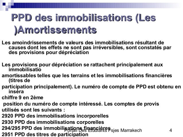 Portail Des Etudiants Fsjes Marrakech 4PPD des immobilisations (LesPPD des immobilisations (LesAmortissementsAmortissement...