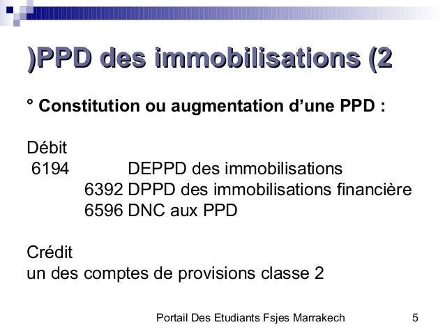 Portail Des Etudiants Fsjes Marrakech 5PPD des immobilisations (2PPD des immobilisations (2))° Constitution ou augmentatio...
