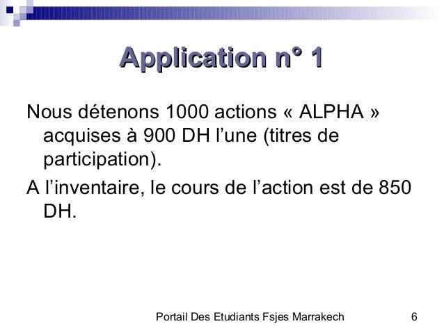 Portail Des Etudiants Fsjes Marrakech 6Application n° 1Application n° 1Nous détenons 1000 actions « ALPHA »acquises à 900 ...