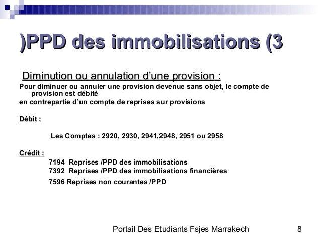 Portail Des Etudiants Fsjes Marrakech 8PPD des immobilisations (3PPD des immobilisations (3))Diminution ou annulation d'un...