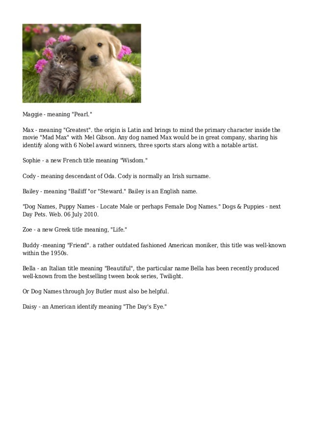 Pet names with meanings