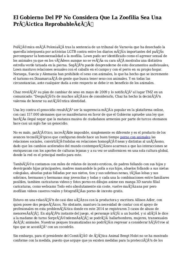 """El Gobierno Del PP No Considera Que La Zoofilia Sea Una  Práctica Reprobable""""  Polémica enPoloniatras l..."""
