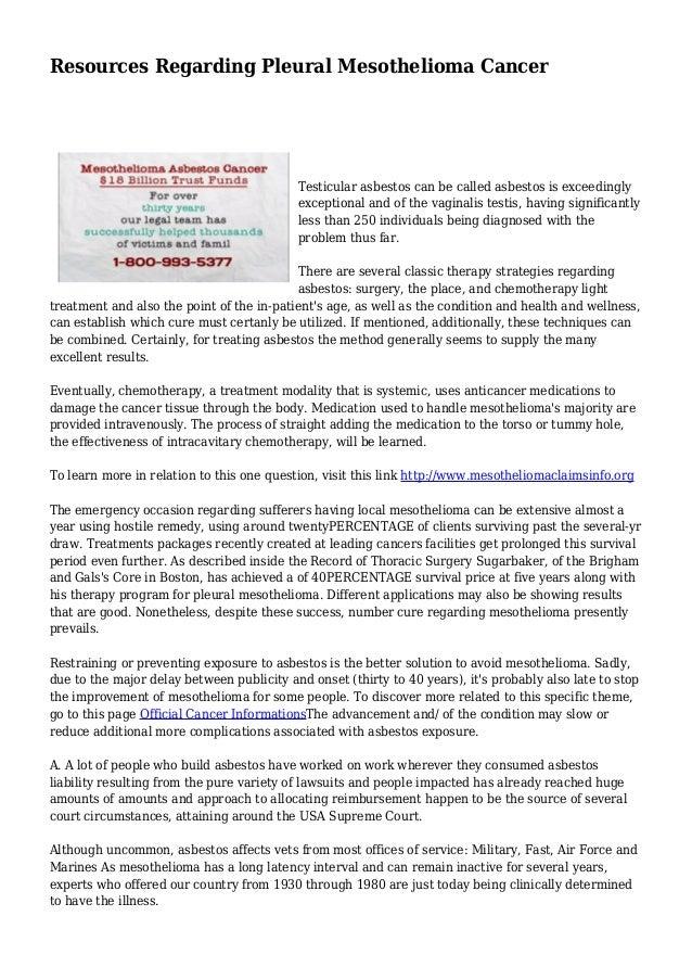Resources Regarding Pleural Mesothelioma Cancer