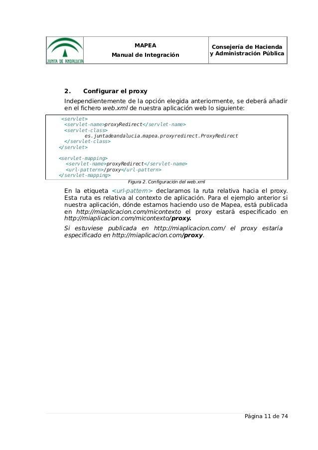 MAPEA Manual de Integración Consejería de Hacienda y Administración Pública 2. Configurar el proxy Independientemente de l...