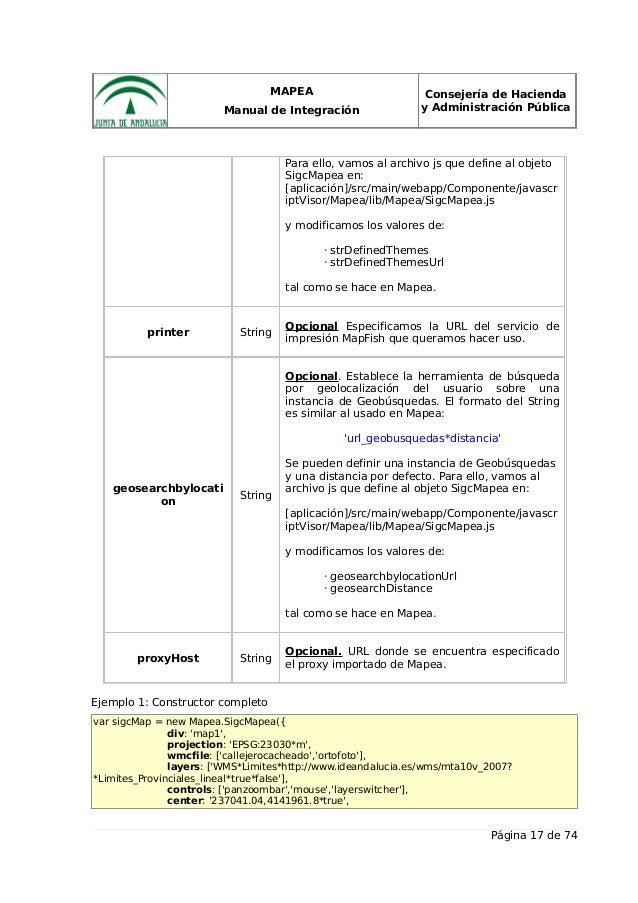 MAPEA Manual de Integración Consejería de Hacienda y Administración Pública Para ello, vamos al archivo js que define al o...
