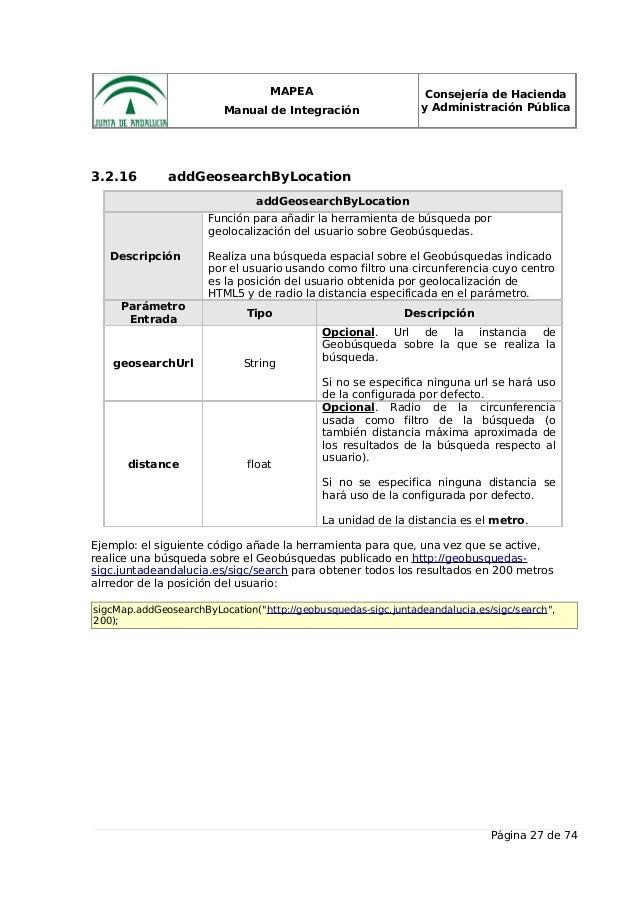MAPEA Manual de Integración Consejería de Hacienda y Administración Pública 3.2.16 addGeosearchByLocation addGeosearchByLo...