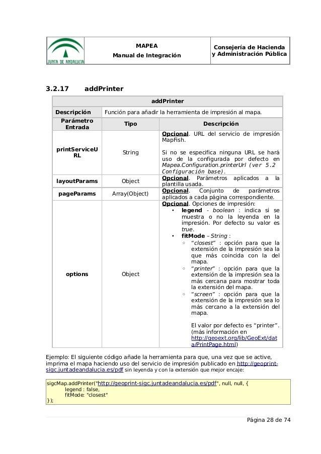 MAPEA Manual de Integración Consejería de Hacienda y Administración Pública 3.2.17 addPrinter addPrinter Descripción Funci...