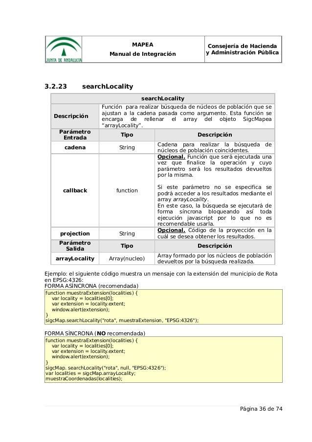 MAPEA Manual de Integración Consejería de Hacienda y Administración Pública 3.2.23 searchLocality searchLocality Descripci...