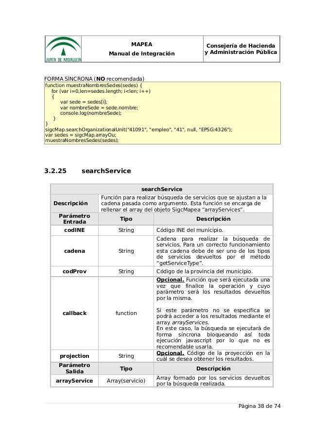 MAPEA Manual de Integración Consejería de Hacienda y Administración Pública FORMA SÍNCRONA (NO recomendada) function muest...