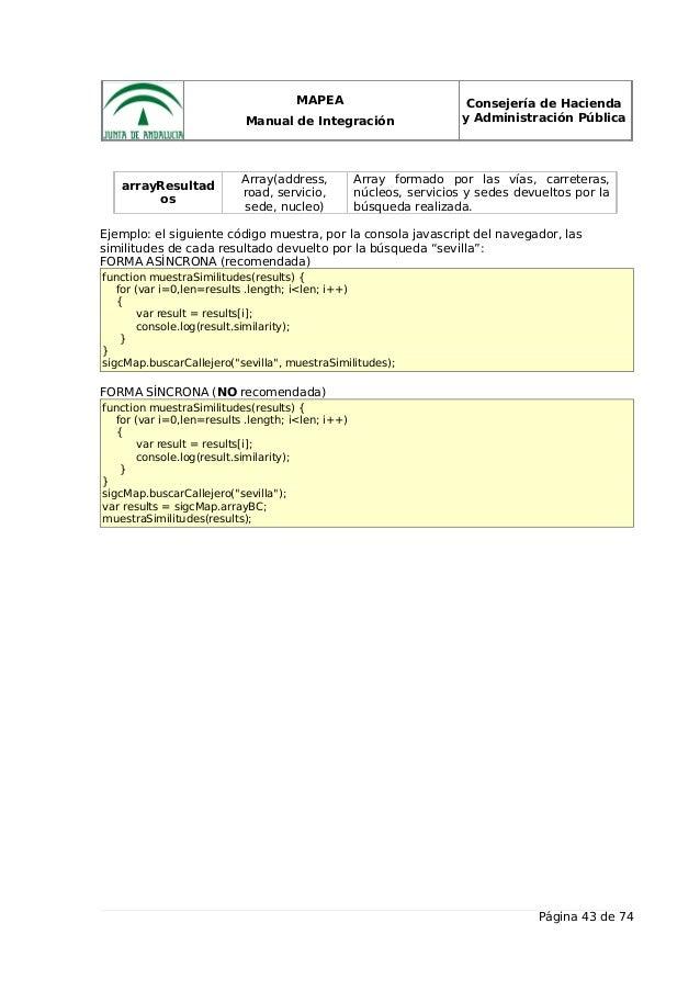 MAPEA Manual de Integración Consejería de Hacienda y Administración Pública arrayResultad os Array(address, road, servicio...