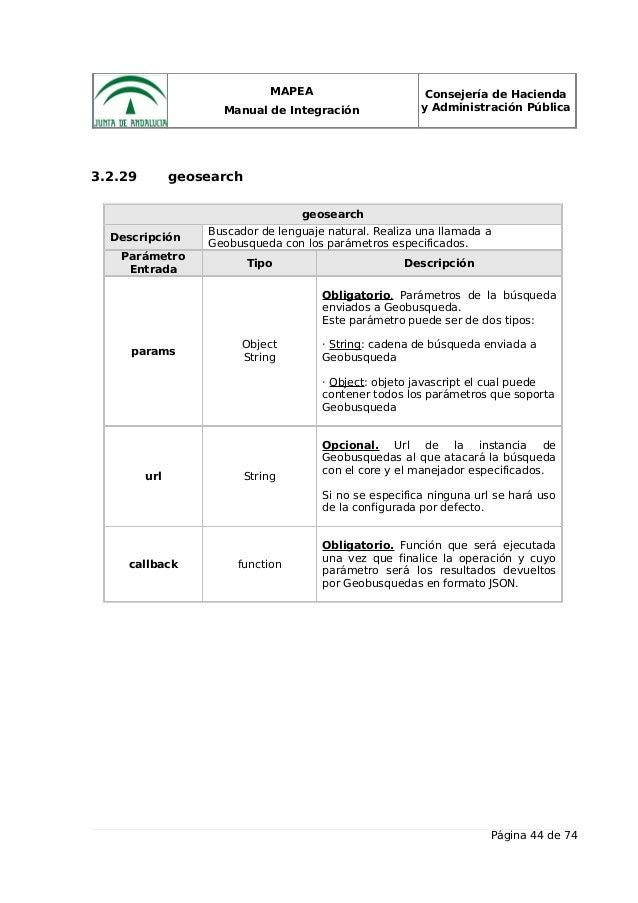 MAPEA Manual de Integración Consejería de Hacienda y Administración Pública 3.2.29 geosearch geosearch Descripción Buscado...