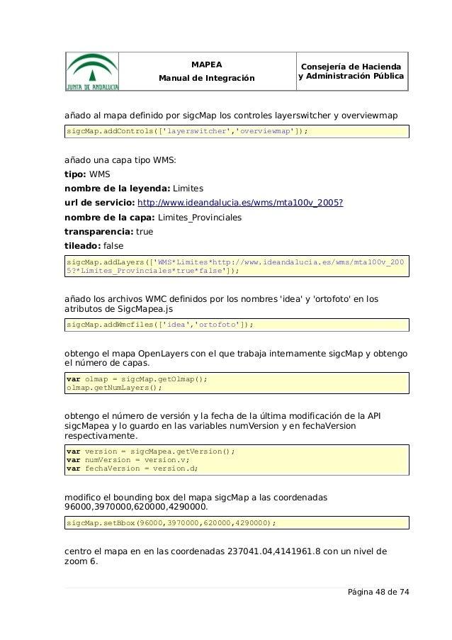 MAPEA Manual de Integración Consejería de Hacienda y Administración Pública añado al mapa definido por sigcMap los control...