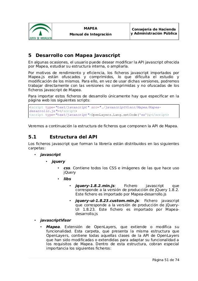 MAPEA Manual de Integración Consejería de Hacienda y Administración Pública 5 Desarrollo con Mapea Javascript En algunas o...