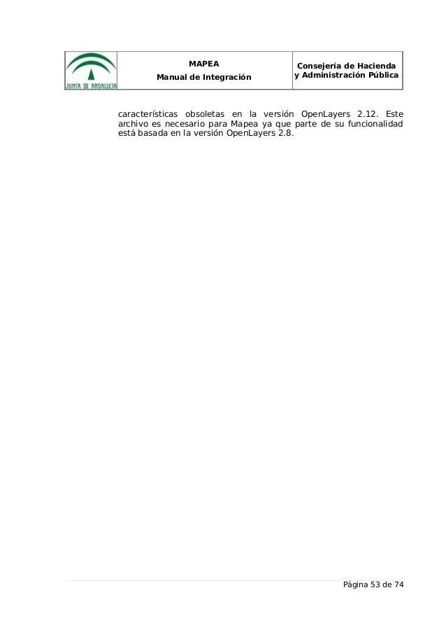 MAPEA Manual de Integración Consejería de Hacienda y Administración Pública características obsoletas en la versión OpenLa...