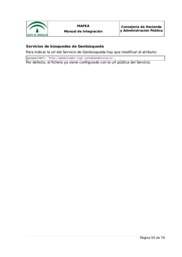 MAPEA Manual de Integración Consejería de Hacienda y Administración Pública Servicios de búsquedas de Geobúsqueda Para ind...