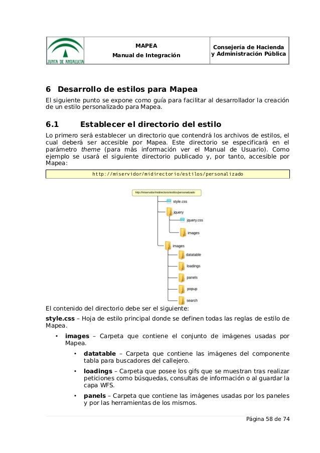 MAPEA Manual de Integración Consejería de Hacienda y Administración Pública 6 Desarrollo de estilos para Mapea El siguient...