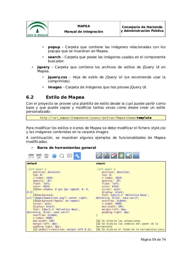 MAPEA Manual de Integración Consejería de Hacienda y Administración Pública • popup – Carpeta que contiene las imágenes re...