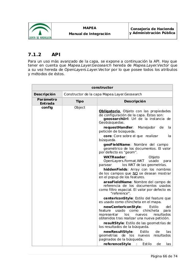MAPEA Manual de Integración Consejería de Hacienda y Administración Pública 7.1.2 API Para un uso más avanzado de la capa,...