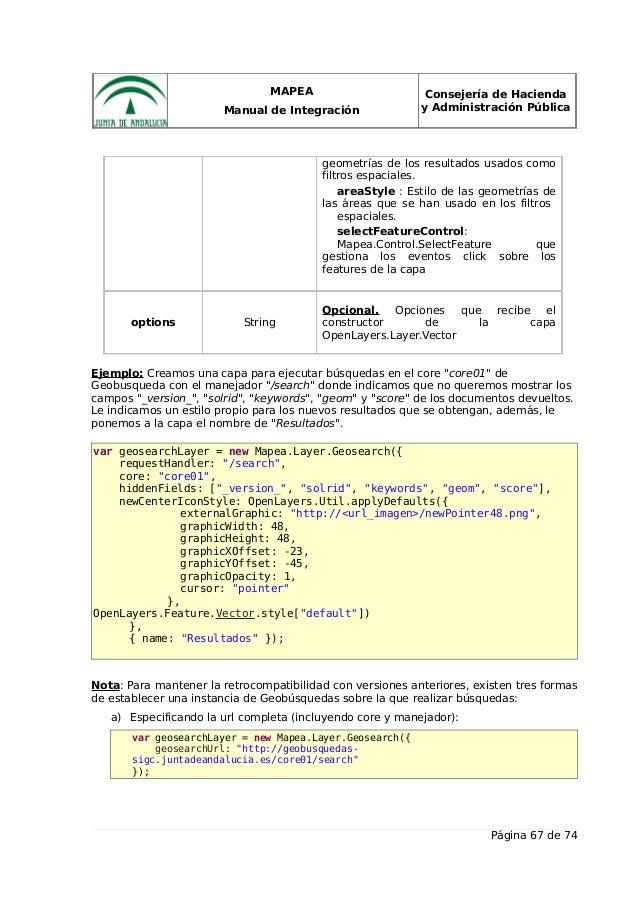 MAPEA Manual de Integración Consejería de Hacienda y Administración Pública geometrías de los resultados usados como filtr...