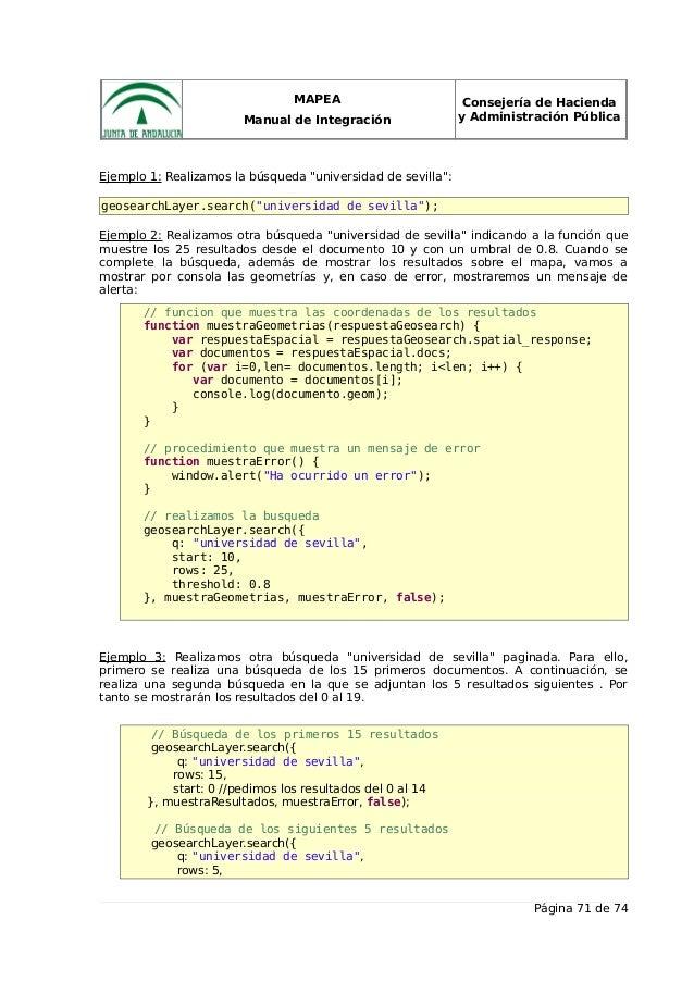 """MAPEA Manual de Integración Consejería de Hacienda y Administración Pública Ejemplo 1: Realizamos la búsqueda """"universidad..."""
