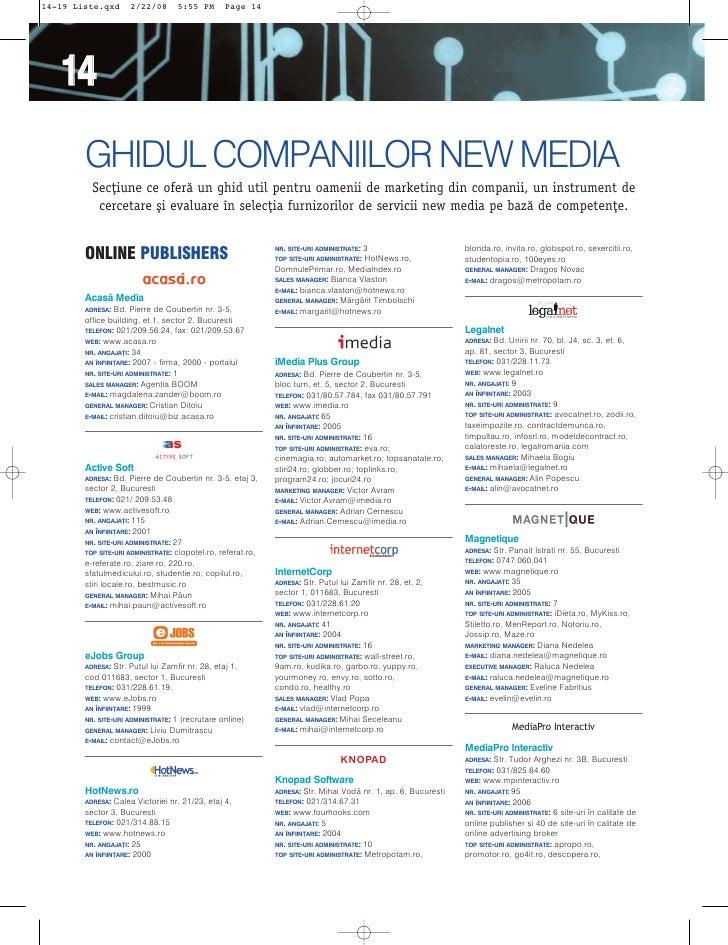 14-19 Liste.qxd      2/22/08       5:55 PM       Page 14        14         GHIDUL COMPANIILOR NEW MEDIA           Sec]iune...